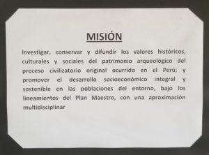 Mission de l'organisation de la Zone archéologique de Caral