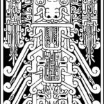 dessin de la Stèle Raymondi Chavín de Huantar retourné