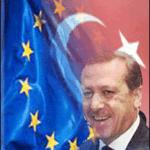 erdogan portrait avec drapeau turque et européen
