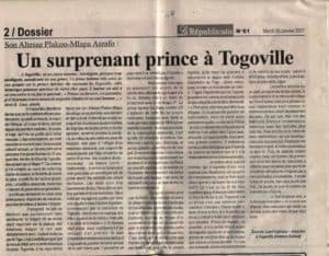 Le Républicain Togo article sur lost highway